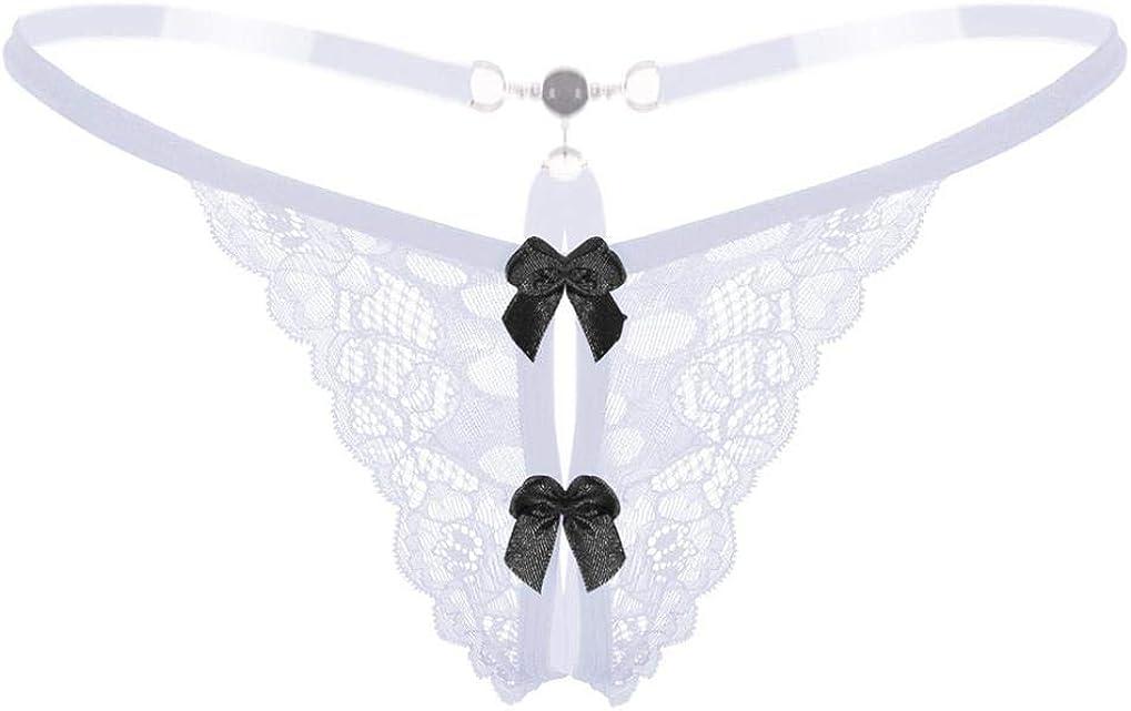 OHQ Femmes Dentelle Entrejambe Panties Entrejambe String avec Perles massant sous-v/êtements