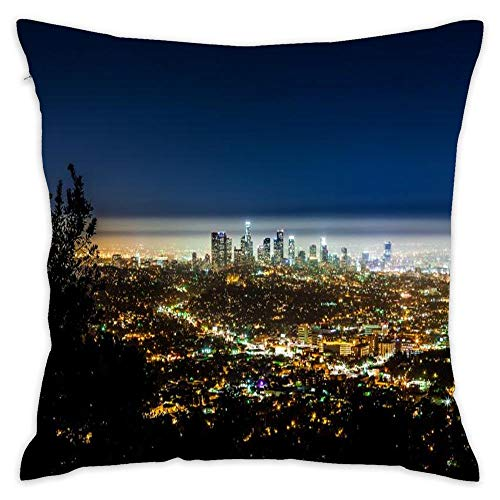 Asefcnxkjii Fantastic View of Los Angeles at Night Custom Decorative Pillow Covers Throw Pillows Covers Couch Pillowcase Cushion Cover Holiday Bedroom 18