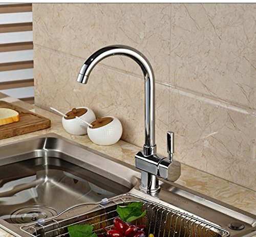 LH@ NEW Deck Mounted Brass Kitchen Faucet Vessel Sink Mixer Tap Single Handle Chrome Finished ()