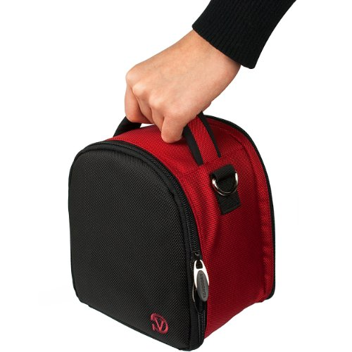 Red Compact Camera Case (VanGoddy Laurel Fire Red Carrying Case Bag for Nikon CoolPix Series Compact to Advanced Digital Cameras)