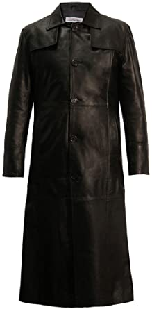 Long Length Leather Trench Coat in Black: Amazon.co.uk: Clothing