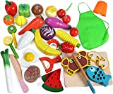 Lewo 33 Pcs Play Food Toys Cutting Fruit Vegetables Set Magnetic Wooden Cooking Food Pretend Play Kitchen Kits Early Educational Toys for Toddlers Boys Girls Kids