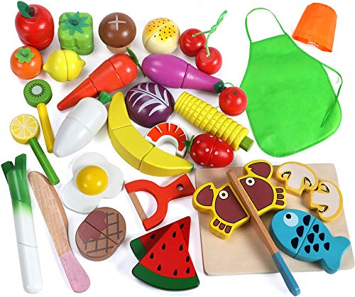 (Lewo 33 Pcs Play Food Toys Cutting Fruit Vegetables Set Magnetic Wooden Cooking Food Pretend Play Kitchen Kits Early Educational Toys for Toddlers Boys Girls Kids)