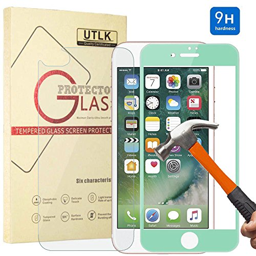 iPhone 7 Plus Front Back Glass Screen Protector Green, UTLK 3D Fully Cover Colored Tempered Glass Body Sticker 9H Hardness Premium Tempered Glass Screen Protector For iPhone 7 Plus 5.5 inch (Screen Sticker Protector)