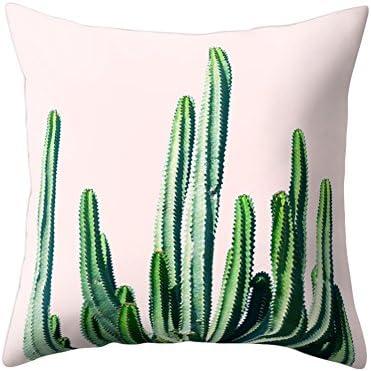 Funda de cojín con diseño impreso de cactus para decorar el sofá o la cama, 10#, 17.72