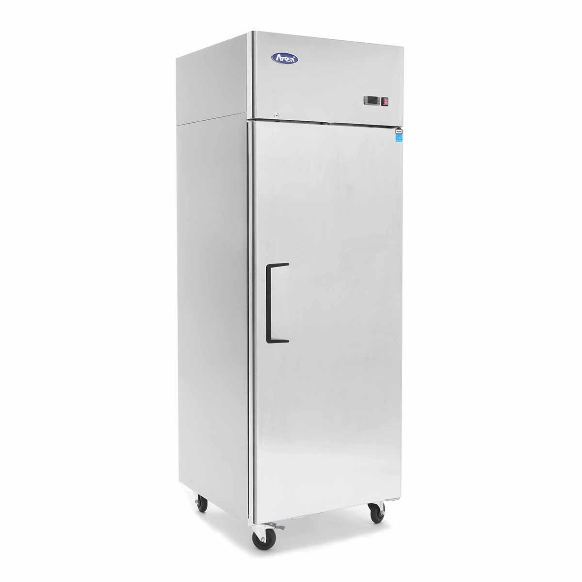 Single Door Commercial Refrigerators, ATOSA Top Mount Stainless Steel Reach in Upright Refrigerator With 1 Solid Door for Restaurant - 21.4 cu.ft, 33℉-38℉, Air Cooled, Energy Star by Atosa