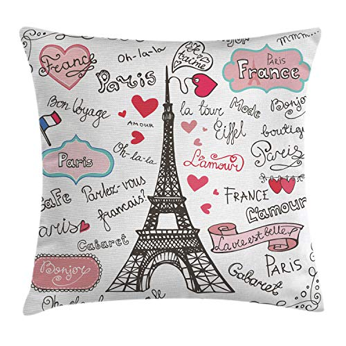 Ambesonne Eiffel Tower Throw Pillow Cushion Cover, Paris Symbols Lettering Heart Shapes Flag Ornamental Sketchy Doodle, Decorative Square Accent Pillow Case, 18 X 18 Inches, Black White - Pillow Paris