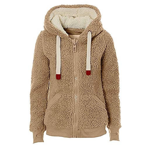 AgrinTol Ladies Womens Soft Teddy Hooded Jumper Hoody Jacket Coat with Pocket