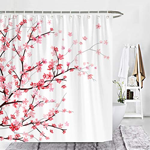 Wencal Pink Cherry Blossom Shower Curtain for Bathroom with 12 Hooks Floral Sakura 72 x 72 ()