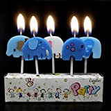 Zongheng Ecape Cartoon Animal Party Candles Adorable Elephant Candles Handmade Craft Candles Western Cake Decoration Cake Candles 5 Candles a Set