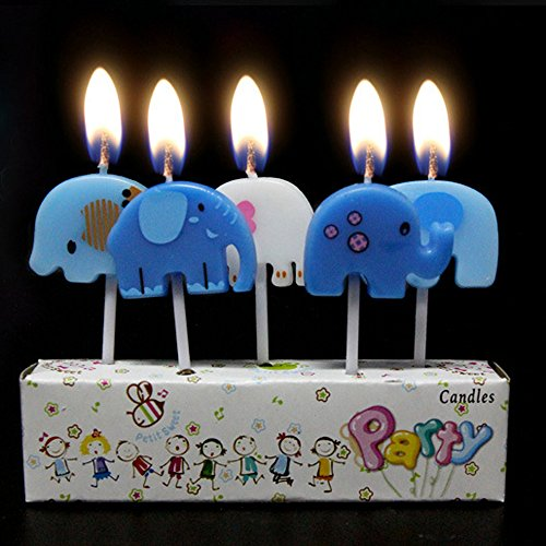 Zongheng Ecape Cartoon Animal Party Candles Adorable Elephant Candles Handmade Craft Candles Western Cake Decoration Cake Candles 5 Candles a Set by Ecape