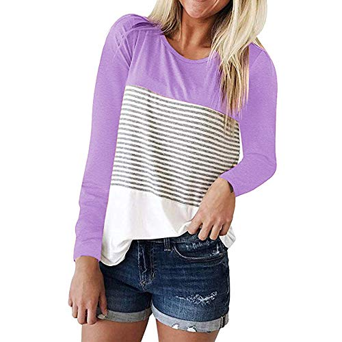 Seaintheson Tunics for Women Long Sleeve, Women's Casual Triple Color Block Stripe T Shirt Oversized Loose Pullover Blouse