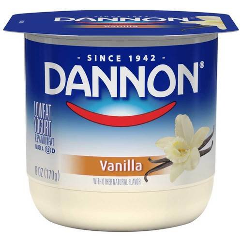 Dannon All Natural Vanilla Flavored Yogurt, 6 Ounce - 12 per case.