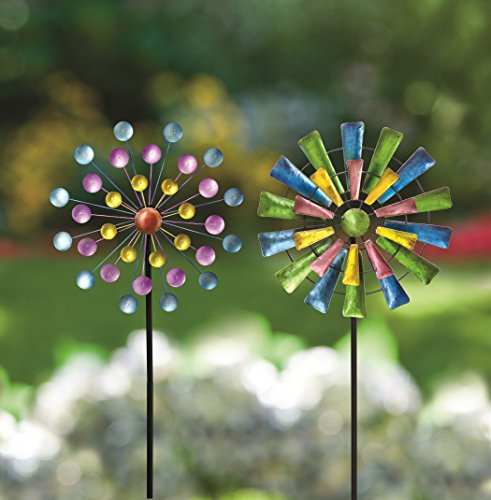 Bits and Pieces - Set of Two (2) Dots and Paddle Mini Wind Spinners - Decorative Kinetic Wind Mills - Unique Outdoor Lawn and Garden Décor, Lawn Ornaments (Wind Ornament Spinner)