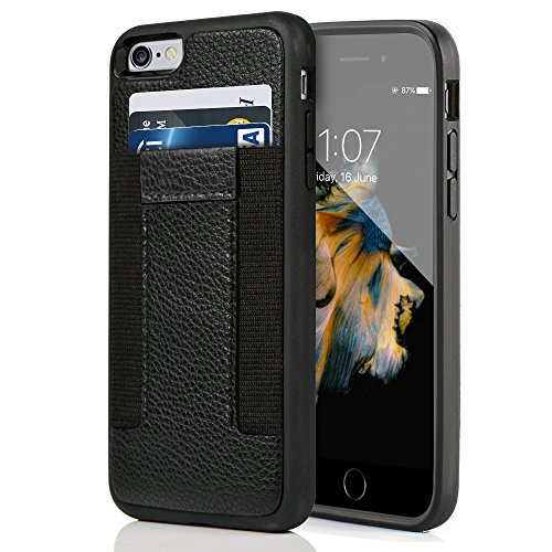 iPhone 6/6s Wallet Case, ZVE iphone 6s case card holder, iPhone6 case with Credit Card Holder & ID Card Slot-Apple iphone6/6s-Durable Shockproof Cover for Apple iPhone6 Black-Black (Case 6 Men Wallet Iphone Leather)