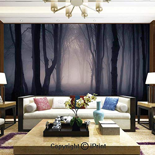 Lionpapa_mural Wall Mural Showing All They Beauty Extremely Detailed Image, Path Through Dark Deep in Forest with Fog Halloween Creepy Twisted Branches Picture,Home Decor - 100x144 -