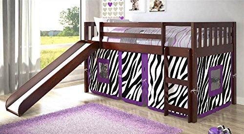 Donco Kids Twin Mission Zebra Tent Loft Bed with Slide For Sale