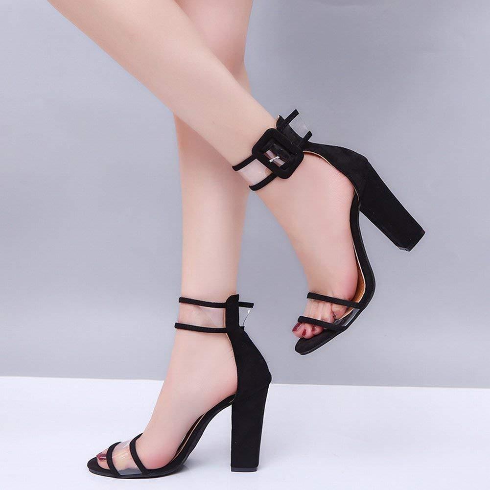 Oudan Damenschuhe Hohle Schnalle High Heel Sandaletten (Farbe   Schwarz Größe   36)