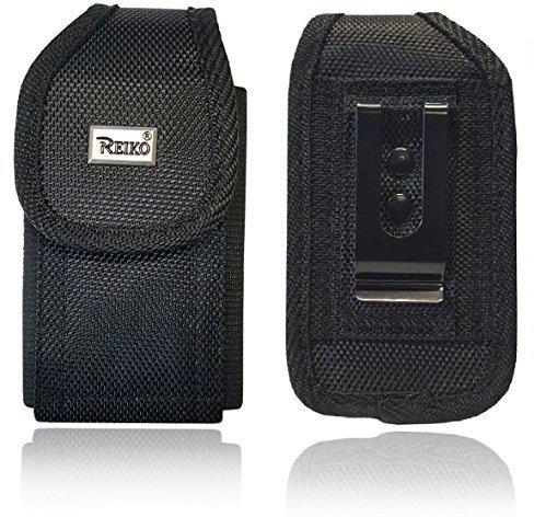 Reiko Vertical Canvas Case, Rugged Pouch Holster Metal Clip Flip Phone Belt Case Fits Kyocera Cadence LTE, Dura XTP, Dura XV E4520 Case, Dura XV Plus, Dura XE, Convoy 4, Most Large FLIP Phone ()