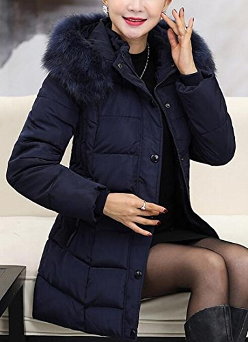 Fur UK Hooded Womens Down Jacket Solid Puffer Navy today blue Faux IH1ZZp