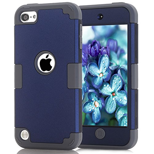 iPod Touch 5 Case , Easytop Slim Shockproof Armor Hard Rugged Ultra Protective Back Rubber Dual Layer Impact Protection Cover for Apple iPod Touch 5 6th Generation (Navy + Grey) ()