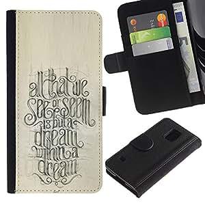 Paccase / Billetera de Cuero Caso del tirón Titular de la tarjeta Carcasa Funda para - Motivational Quote Calligraphy - Samsung Galaxy S5 V SM-G900