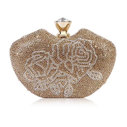Damara Boda Forma De Perfume Mujeres Cartera De Hombro Con Rosa De Cristal,Dorado Dorado