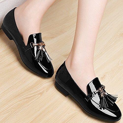 Femmes Femmes Nouveaux Superficielle Chaussures Faible Avec Élèves Black Tassel De De KHSKX Des Des Thirty Les Chaussures 6C099 five 0xa7qwX