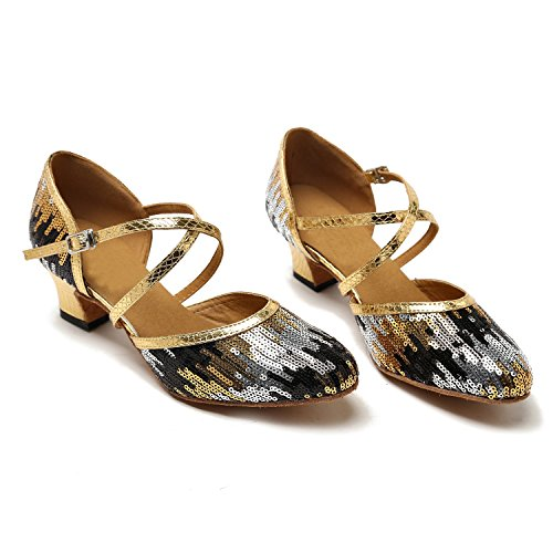 TH135 MINITOO Pleather Strap Wedding Dance Cross Ladies Shoes Black Taogo Gold Pumps Latin Ballroom Sequin rTcqr5