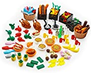 City Food Building Block Accessories Bricks Set Pack 136 Pieces People Friends House Kitchen Mini Farm Restaur
