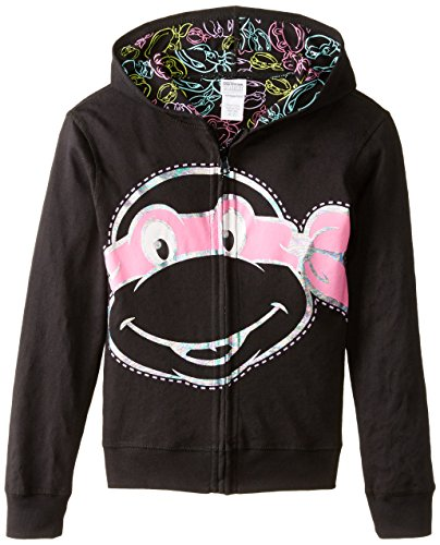 (Teenage Mutant Ninja Turtles Big Girls' Reversible Zip Up Hoodie, Black,)