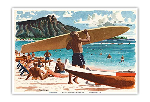 Waikiki Beach, Hawaii - Hawaiian Surfer, Diamond Head Crater - United Air Lines - Vintage Airline Travel Poster by Fred Ludekens c.1950s - Master Art Print - 13 x ()