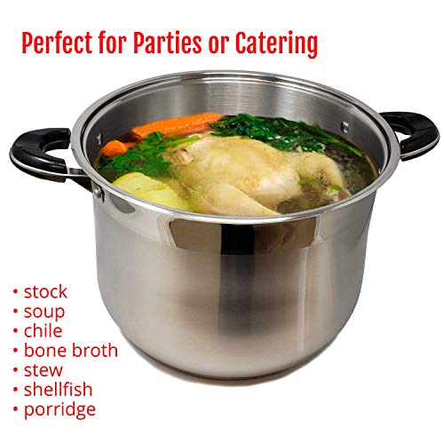 20 Quart Commercial Grade Stainless Steel High Stockpot Non-Toxic Cookware Dishwasher Safe Heavy-Duty Encapsulated Bottom For Efficient Heat Distribution