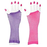 Kidsco Pack of 3 Pairs Long Fingerless Fishnet Hand Gloves - 3 Pairs (6 Pc.) of Assorted Neon Colors Costume Party Accessory, Disco Dress Up, Women's Dance Show, Bridal Shower