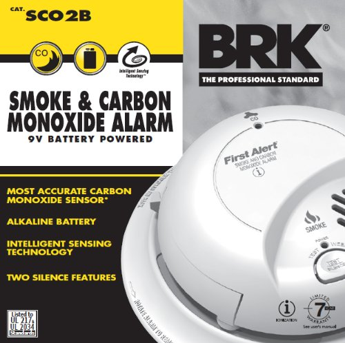 BRK Electronics SCO2B Smoke and Carbon Monoxide Alarm with 9V Battery 2 Pack