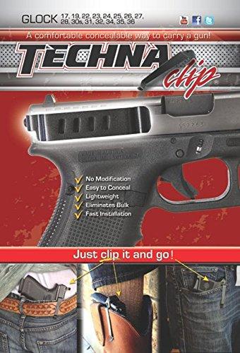 Techna Clip - Conceal Carry Clip - Glock Models 17, 19, 22, 23, 24, 25, 26, 27, 28, 30S, 31, 32, 33, 34, 35, 36, 41 (Ambidextrous) - Civilian Clip Point