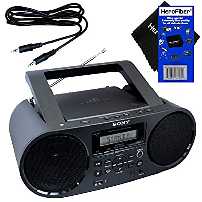 Sony Bluetooth & NFC (Near Field Communications) MP3 CD/CD-R/RW Portable MEGA BASS Stereo Boombox with Digital Radio AM/FM tuner & USB Playback + Auxiliary Cable & HeroFiber Gentle Cleaning Cloth from Sony