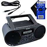 Sony Bluetooth & NFC (Near Field Communications) MP3 CD/CD-R/RW Portable MEGA BASS Stereo Boombox with Digital Radio AM/FM tuner & USB Playback + Auxiliary Cable & HeroFiber Gentle Cleaning Cloth