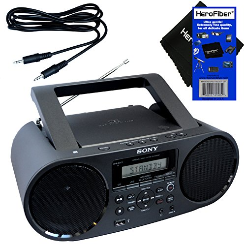 Sony Bluetooth & NFC (Near Field Communications) MP3 CD/CD-R/RW Portable MEGA Bass Stereo Boombox with Digital Radio AM/FM Tuner & USB Playback + Auxiliary Cable & HeroFiber Gentle Cleaning Cloth (Best Sounding Portable Cd Player)