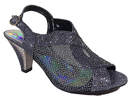 Open Womens Kinmi03 First Heel Sight Black Mid Wedding Rhinestone Sandal Shoes Toe p1xvExWq