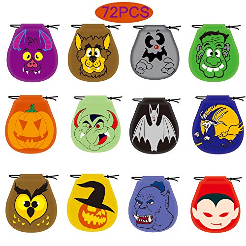 ALLADINBOX Pack of 72 Halloween Monster Drawstring Goody Bags for Halloween Treats Bags, Halloween Party Favors, Halloween Party Supplies,Halloween Bags for Candy