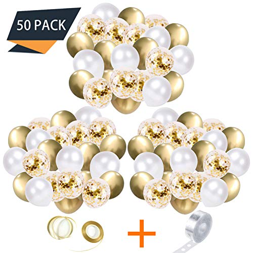 Gold Balloons,12 Inch White,Gold,Confetti Balloons,DIY Party Balloons, 50+2 Pcs Balloon Garland Kit with Ribbon and Balloon Tape Strips for Birthday/Baby/Bridal Shower (White, Gold, Golden Confetti)