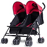 Costzon Twin Ultralight Stroller - Foldable Double Umbrella Stroller (Red)