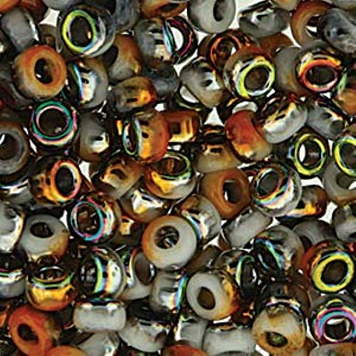 Miyuki Unions Beadsmith Round Rocaille Size 6/0 Glass Seed Beads 20 Grams - White Opaque Amber Funky Copper