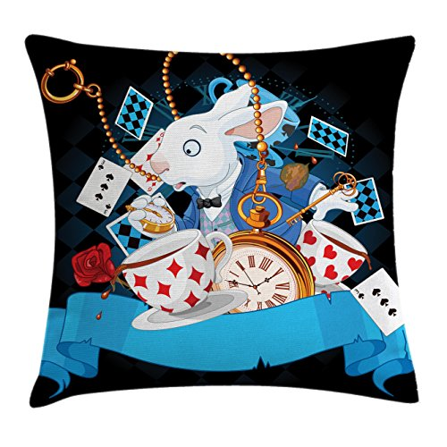 Alice in Wonderland Throw Pillow Cushion Cover by Ambesonne, Rabbit Motion Cups Hearts and Flower Character Alice Cartoon Style, Decorative Square Accent Pillow Case, 26 X 26 Inches, Multicolor