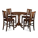 Cheap East West Furniture TRBU5-MAH-W 5 Piece High Top Table 4 Counter Height Dining Chair Set