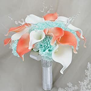 Lily Garden Real Touch Calla Lily Coral and White and Carnation Turquoise Flowers Wedding Bouquet 11