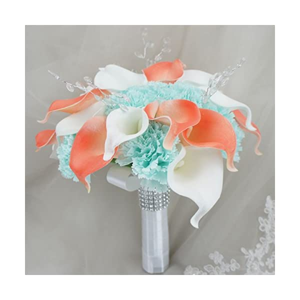 Lily-Garden-Real-Touch-Calla-Lily-Coral-and-White-and-Carnation-Turquoise-Flowers-Wedding-Bouquet-24-Stems-Bouquet