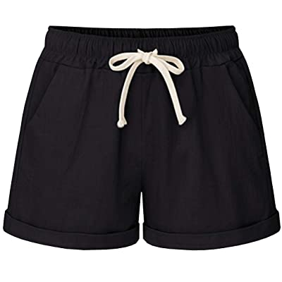 HOW'ON Women's Elastic Waist Casual Comfy Cotton Beach Shorts with Drawstring | Amazon.com