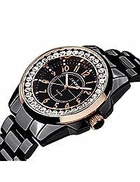 SINOBI Black Stainless Steel Rhinestone Crystal Quatrz Wrist Watches for Women Casual Ladies Watches
